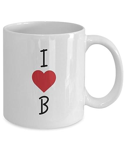 3e866e2178 Amazon.com: Alphabet Mug - I Love B Coffee Mug Tea Cup Ceramic 11 oz ...