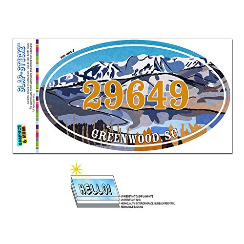 Graphics and More Zip Code 29649 Greenwood, SC Euro Oval Window Bumper Glossy Laminated Sticker - Snowy Mountain Lake (City Greenwood Zip)