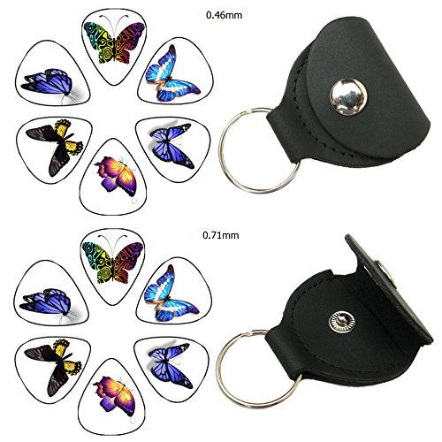Easeicon 12-Pack Butterfly Theme (Colorful Wings, Thin Body) Celluloid Electric, Acoustic or Bass Guitar Picks, 2 Leather Plectrum Holder Case Keychain Cover Included