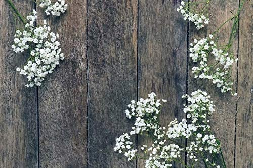 Dark Brown Wooden Board and Small White Flowers Wedding Baby Photography Background Custom Photography Studio Photography Background