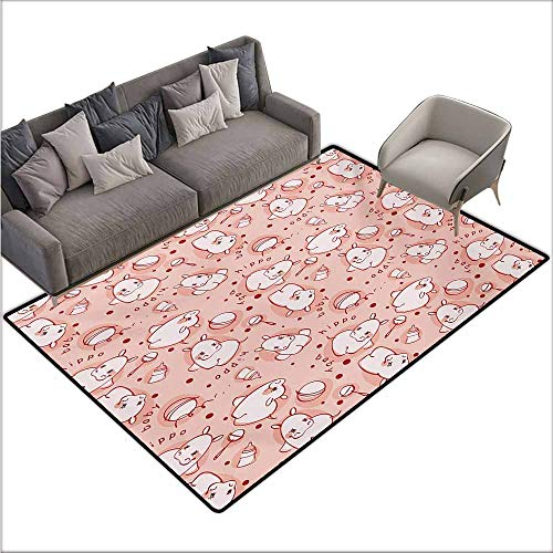 Door Rug Indoors Kids Cute Baby Hippo Pattern Lovely Wild Animal Funny Girls Boys Playroom Concept Country Home Decor W70 xL106 Coral Red ()