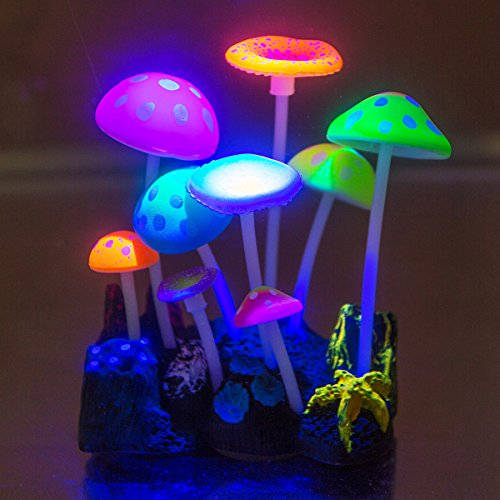 Govine Aquarium Decorations, Glowing Effect Artificial Mushroom for Fish Tank Decoration Plastic Aquarium Ornament by Govine