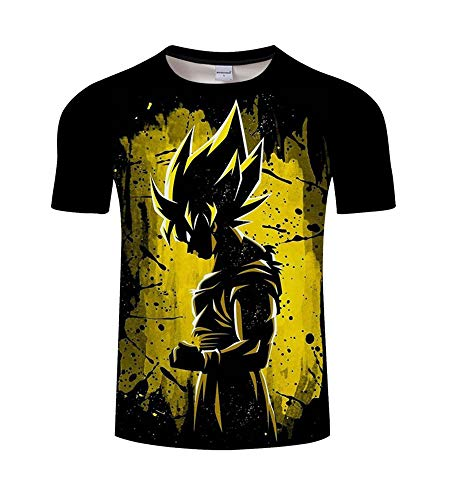 ZeroGoo Goku Shirt, 3D Print Anime Cartoon Network Tshirt DBZ Dragon Ball Goku Vegeta Saiyan T Shirt Men Kid Adult Teen (GK-1, M) -