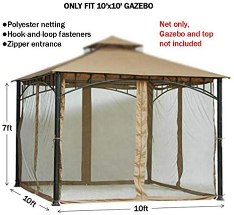 Replacement Mosquito Netting for Gazebo Size 10ft x 10 ft Gazebo Mosquito Net Only