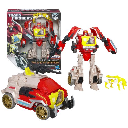 Transformers Hasbro Cybertron (Hasbro Year 2012 Transformers Generations Fall of Cybertron Series 01 Voyager Class 7-1/2 Inch Tall Robot Action Figure Set #004 - AUTOBOT BLASTER with Cannon Blaster and STEELJAW Data Disc Figure (Vehicle Mode: Communications Truck))