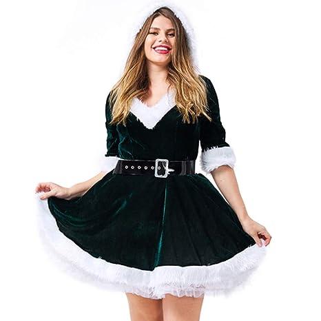 QQWE Disfraz Santa Claus para Mujer Vestido Navidad Vestido ...
