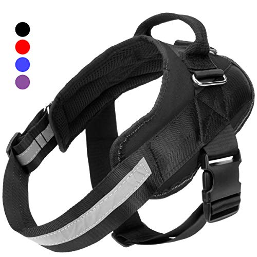 Easy Walking Dog Harness, Easy On and Off Pet Vest Harness, 3M Reflective Breathable and Easy Adjust Pet Halters with Nylon Handle for Small Medium Large Dogs - No More Pulling, Tugging or Choking ()