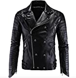 Elonglin Mens Coat Moto Rivet Skull Jacket Faux Leather Black US M (Asian XXL)