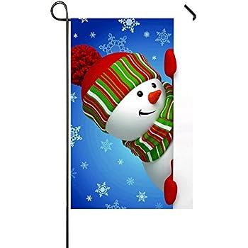 Amazon.com : Rossne G sun Smile Gaze Snowman Blue Snow Garden Flag House Flag Decoration Double ...