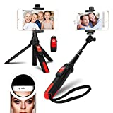 DULAMA Selfie Stick Kit Wireless, Mini Sefile Stick Tripod Stand with Selfie Ring Light 36 LED Bluetooth Controls for iPhone XS MAX / iPhone X/iPhone 8/8 Plus/iPhone 7/7 Plus/Samsung Galaxy S9/S9 Plus/Galaxy S8/ S8 Plus/Note 8/Huawei P20/P20 Pro/P10/Other Smartphone