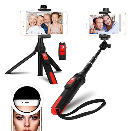 Selfie Stick Tripod Bluetooth Stand, DULAMA Mini Selfie Stick Wireless Controls with Ring Light 36 LED for iPhone X/XS/XR/XS MAX/iPhone 8/8 Plus/7/7 Plus 6/6 plus/Galaxy Note8 9 S9/S9 Plus/ S8/ S8+
