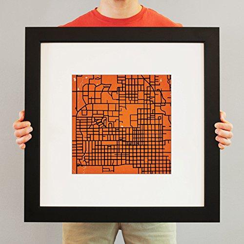 Oklahoma State University Campus Map Art, 23 Frame + Mat