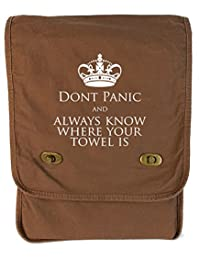 Tenacitee Don't Panic and Always Know Where Your Towel Is Java Canvas Field Bag