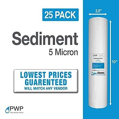 PWP Sediment Water Filter Cartridge Spun Poly REVERSE OSMOSIS 5 Micron 2.5x10 25 PACK