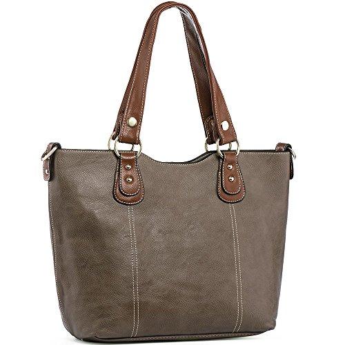 UTAKE Handbags for Women Top Handle Shoulder Bags PU Leather Tote Purse Meduim Size Brown Grey