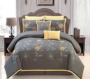 Amazon Com Sunshine Yellow Grey Comforter Set