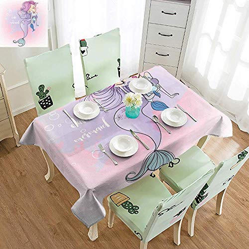 - SEMZUXCVO Easy Care Tablecloth Mermaid Decor Cartoon Illustration with Lettering Cute Mermaid Smiling Glamour Beauty Easy to Clean W70 xL84