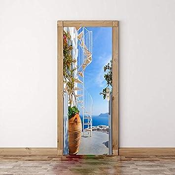 CFLEGEND 2 Paneles Escalera Vertical Mar 3D Imagen De Arte De Pared Mural Pegatinas De Pared Puerta Tatuajes De Pared Decoración Del Hogar 77X204Cm: Amazon.es: Bricolaje y herramientas