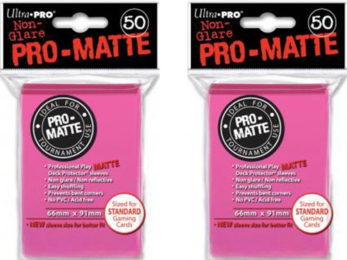 100 Ultra Pro Bright Pink PRO-MATTE Deck Protectors Sleeves Standard MTG Colors