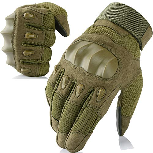 - AXBXCX Touch Screen Military Rubber Hard Knuckle Tactical Gloves Full Finger Hunting Cycling Motorcycle Training Army Shooting Motorbike Airsoft Paintball Gloves Green XL