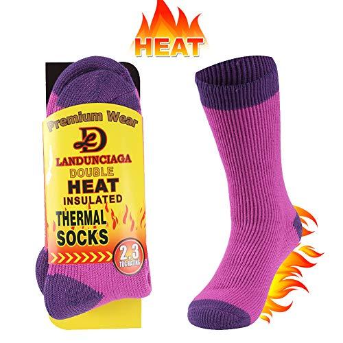 (Slipper Socks,LANDUNCIAGA Women's Home Super Soft Warm Winter Insulated Thermal Socks Snowflake Comfy Fleece Lined Crew Socks,Heat Wicking Boot Socks Insulated Socks for Wife)
