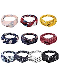 KECUCO 10 Pack Boho Headbands for Women Vintage Flower Printed Criss Cross Elastic Head Wrap Twisted Cute Hair Accessories