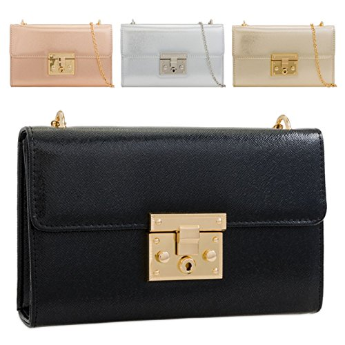 Cross Bag Light Purse Handbag Women's Push Leather KLY2286 Body Faux Clasp Clutch Ladies Gold 78wXqX