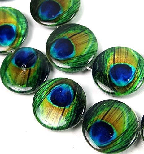 18mm Peacock Mother of Pearl Disc Coin MOP Beads 15