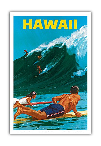 Pacifica Island Art Hawaii - Big Wave Surfing - Vintage Hawaiian Travel Poster by Chas Allen c.1950s - Hawaiian Master Art Print - 12 x 18in (Travel Hawaii Poster)