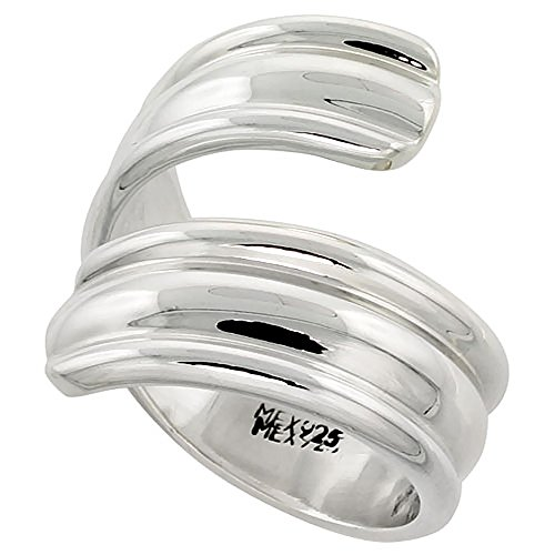 Sterling Silver Bypass Ring Dome Center Handmade High Polish 7/8 inch wide, size - Sterling Bypass Silver High Polish