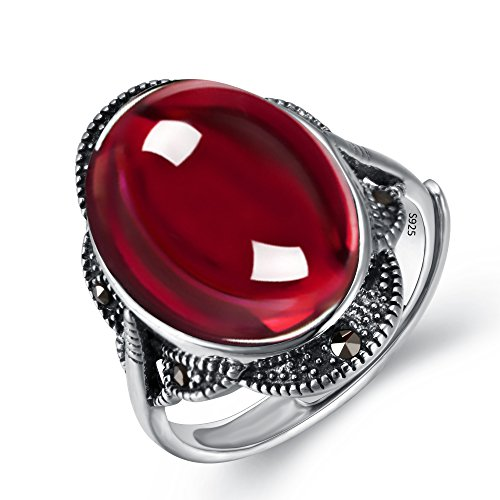 EVER FAITH 925 Sterling Silver Oval Red Garnet Gemstone Crystal Retro Floral Cocktail Adjustable Ring