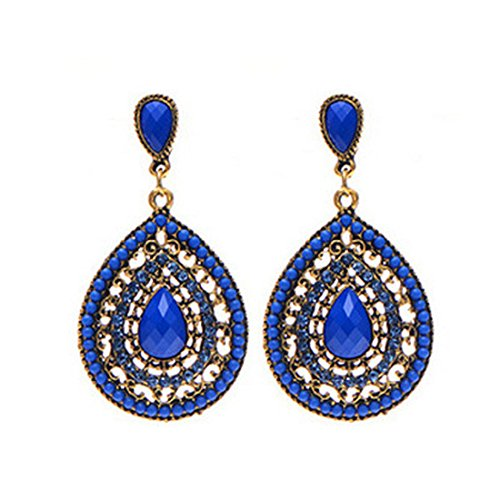 o Bohemia Teardrop Crystal Drop Dangle Earrings (Blue) ()