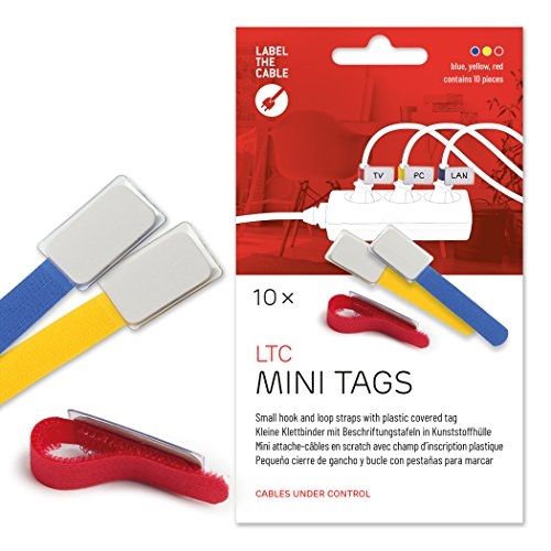 Cable Management Cable Ties with Labels, 10 PCS, Mixed Color - Reusable Hook and Loop Cable Labels, Cord Organizer for Travel, Wire Management, Wire Labels, Cord Labels, Cable Tags - LTC 2530 MINI TAGS (Electronic Cord Tags)