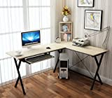 HLC L-shaped Computer Desk Corner Table Workstation with Bookshelf