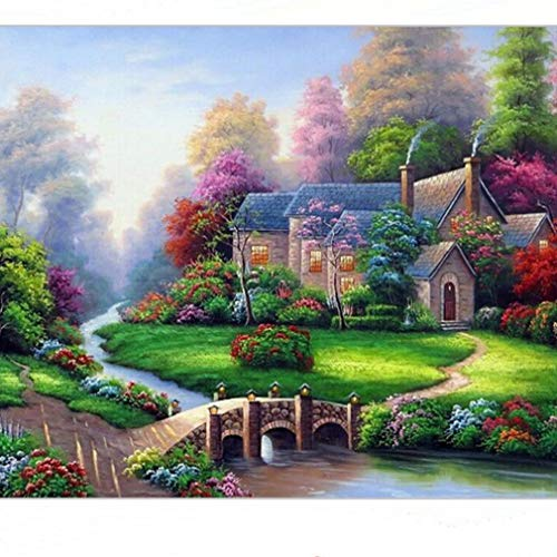 Yunzee Garden Diamond Painting 5D DIY Rhinestone Embroidered Arts Craft Drill Cross Stitch Sewing Number Kits Bridge Pattern Painting