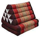 Thai triangular cushion with mattress 2 folds, burgundy/red, relaxation, beach, pool, meditation garden (82302)