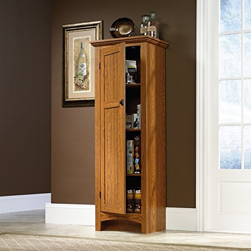 Kitchen Pantry Carolina Oak Finish Hardware Finish is Antique Bronze Four Removable and Adjustable Shelves Included by GAShop