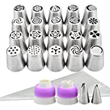 YIHONG Set of 20 Russian Piping Tips, Baking Supplies Cake Decorating Tips for Cookies Cupcake Birthday Party,20 Icing nozzles, 2 Leaf piping tips,1 Tri-coupler,1 Single-coupler