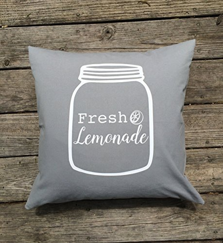 Hair Platter (Fresh Lemonade Pillowcase, Summer Decor , shabby chic , decorations , Gray and white , 16 x 16 pillow cover , mason jar mason jars, Home Décor)