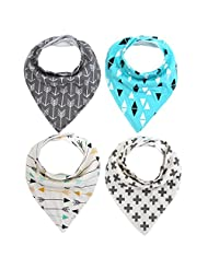 Storeofbaby Baby Bandana Drool Bibs for Boys and Girls with Snaps,Absorbent Cotton ( Pack of 4)