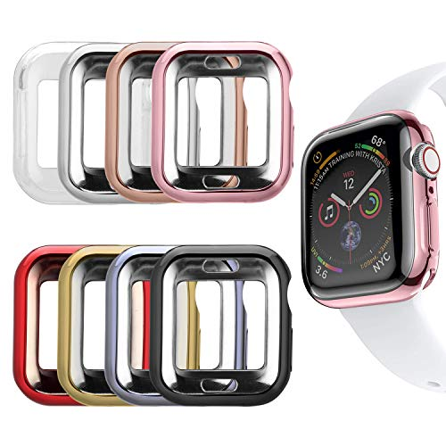Ultra Slim Guard Skin - MAIRUI Compatible with Apple Watch Cover Case 40mm [8 Pack], Bumper Guard Protector Accessories Ultra-Slim Lightweight for iWatch Series 4
