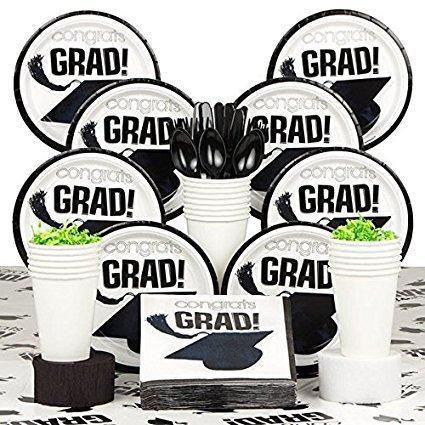 Graduation-Party-Supplies-White-Serves-18-Plates-Napkins-Cups-2017-Party-Kit