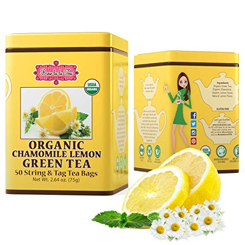 Brew La La Organic Green Tea - Natural Chamomile Lemon - 50 Tea Bag Tin - Low Caffeine Gourmet Tea - Certified Organic