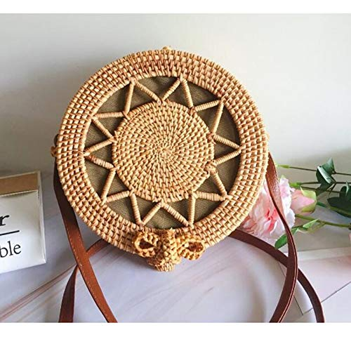 Kong Natural Straw - Zozu 2019 Round Straw Bags Women Summer Rattan Bag Handmade Woven Beach Cross Body Bag Circle Bohemia Handbag Bali L24 (lou kong wu jiao)