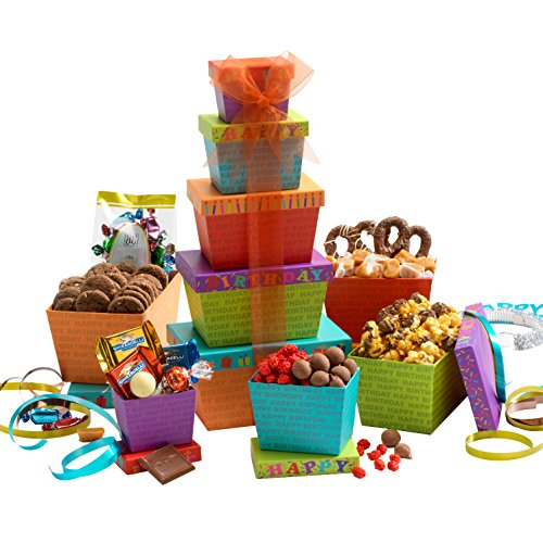 Broadway Basketeers Gift Tower, Happy Birthday - Cookie Birthday Happy Bouquet