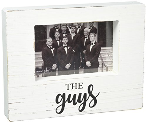 Mud Pie Guys White Washed Wooden Block Picture Frame, One Size (Mud Pie Picture Frame Wood)