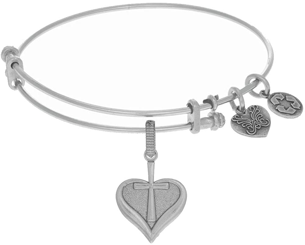 Angelica 7.25 Adjustable White Finish Brass Faith Bangle Bracelet