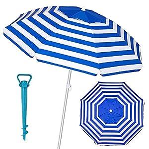 Pack sombrilla de Playa antiviento de Aluminio y Fibra Vidrio, con Soporte de Arena – LOLAhome (Ø 180 cm, Azul)