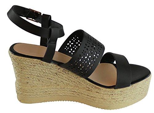 Cambridge Select Women Open Teen Strappy Laser Uitsparing Espadrille Platform Wedge Sandaal Zwart Pu