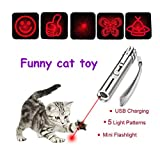 Cat Laser Pointer Interactive Toy, (Jouet de Pointer Laser de Chat), LED Lighting with 5 red Patterns, 1 White Flashlight, USB Rechargeable, Aluminum Alloy Body and Exquisite tin